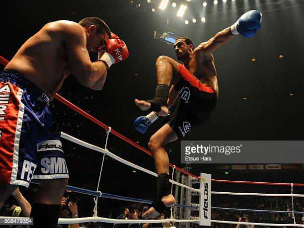 Badr Hari and Peter Aerts compete in the quarter final of the K1 World GP 2008 Final at the Yokohama Arena on December 6 2008 in Yokohama Kanagawa...
