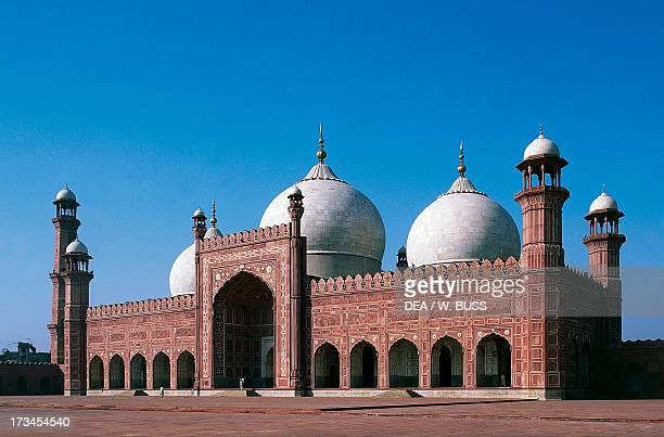 Badshahi Mosque or the Royal Mosque decorated with white marble and red stone Lahore Punjab Pakistan
