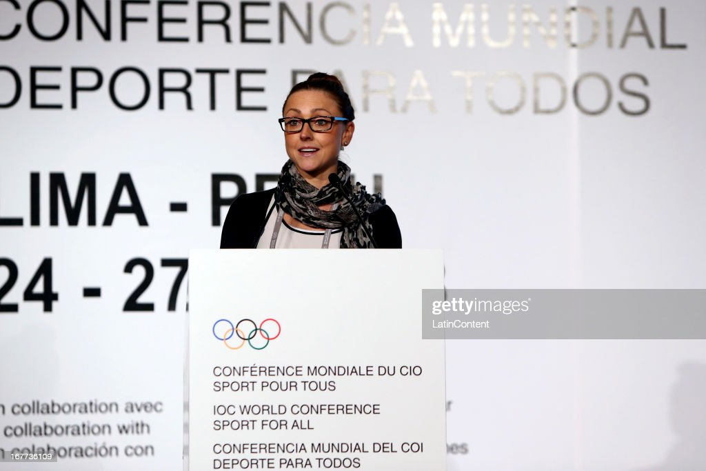 Bae Dixon Schilling, member of TAFISA, during the Closing Session as part of the of the 15th IOC World Conference Sports For All at Daniel A. Carrion Conference Center on April 27, 2013 in Lima, Peru.