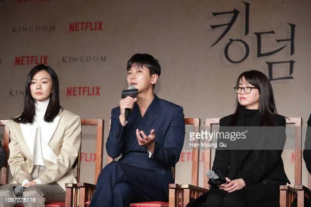 Bae Doona Ju Jihoon and writer Kim Eunhee attend the Netflix 'Kingdom' press conference on January 21 2019 in Seoul South Korea