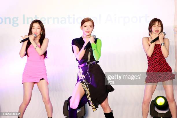 Bae Joohyun Kang Seulgi and Son Seungwan of South Korean girl group Red Velvet perform on July 30 2019 in Hong Kong China