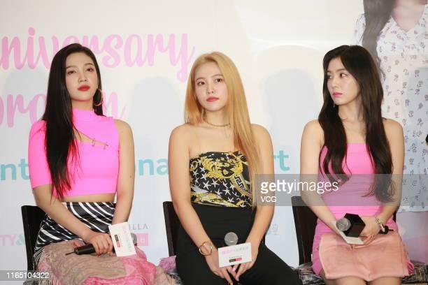 Bae Joohyun Kim Yerim and Park Sooyoung of South Korean girl group Red Velvet perform on July 30 2019 in Hong Kong China