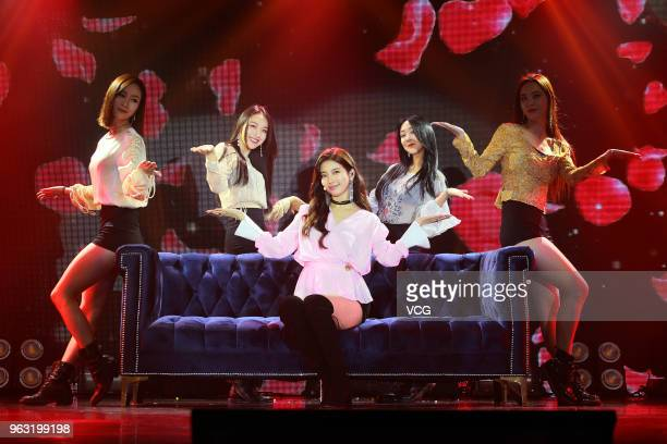 Bae Suzy of South Korean girl group Miss A performs on stage during a fan meeting on May 26 2018 in Hong Kong China
