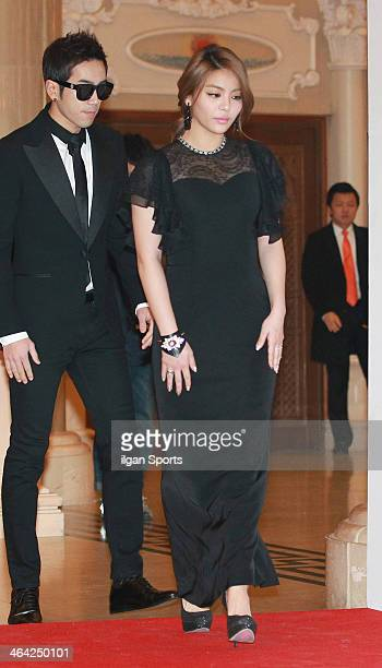 Baechigi and Ailee pose for photographs during the 28th Golden Disk Awards at Kyunghee Grand Peace Palace on January 16 2014 in Seoul South Korea