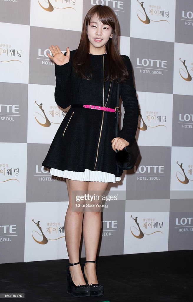 Baek A-Yeon attends Sun's Wedding at lotte hotel on January 26, 2013 in Seoul, South Korea.