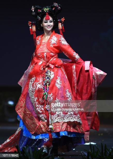 Baek Ji Hyun Miss Korea 2018 walks on stage during the 2018 Miss Universe national costume presentation in Chonburi province on December 10 2018