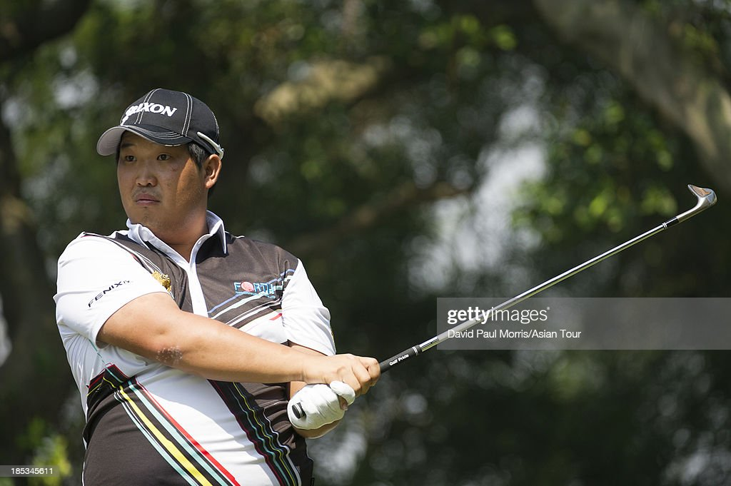 Baek Seuk-hyun of Korea hits his tee shot on the 6th hole during round three of the Venetian Macau Open on October 19, 2013 at the Macau Golf & Country Club in Macau. The Asian Tour tournament offers a record US$ 800,000 prize money which goes through October 20.