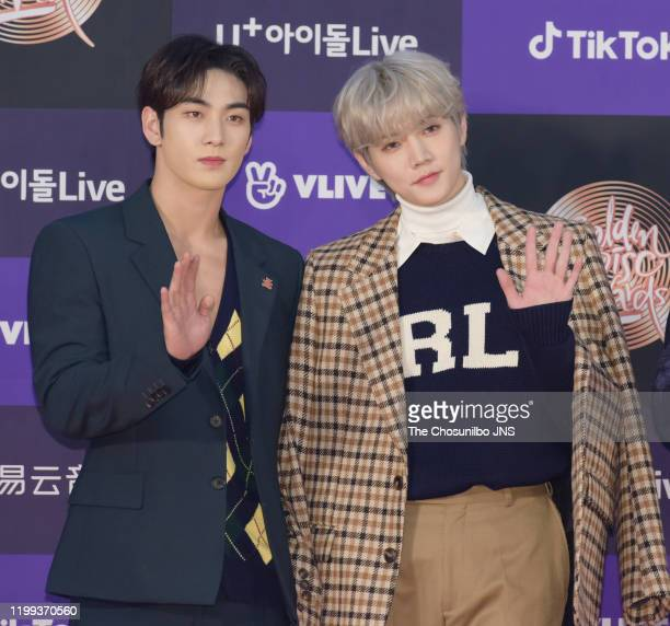 Baekho and Ren of NU'EST arrives at the photocall for the 34th Golden Disc Awards on January 05 2020 in Seoul South Korea