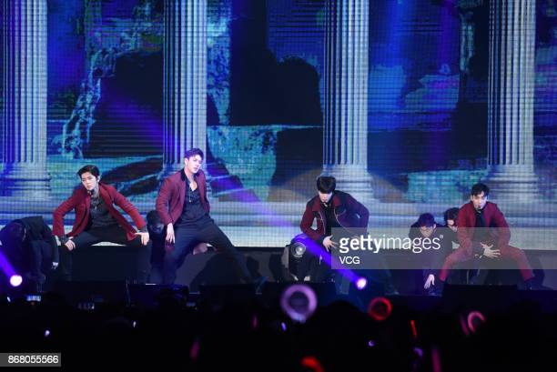 Baekho Aron Ren and JR of South Korean boy group NU¡¯EST W perform on the stage in concert at Taiwan University on October 29 2017 in Taipei Taiwan