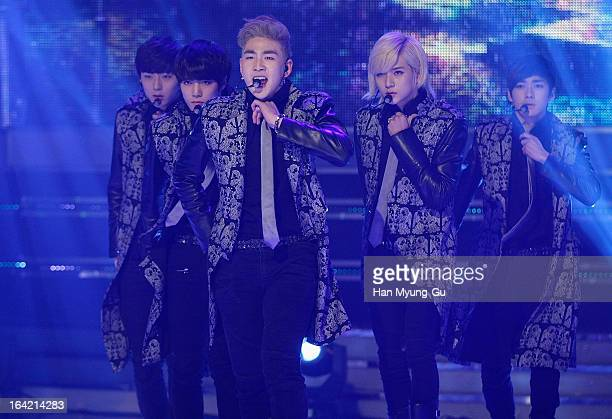 Baekho of South Korean boy band NU'EST performs onstage during the MBC Music 'Show Champion' at UniqloAX Hall on March 20 2013 in Seoul South Korea