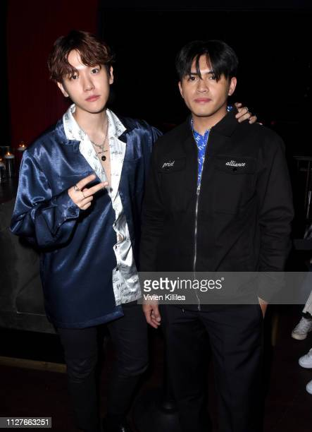 Baekhyun and Danyl Geneciran attend the Privé Alliance LA's Fashion Presentation with KPop Star Baekhyu at Academy LA on February 26 2019 in Los...