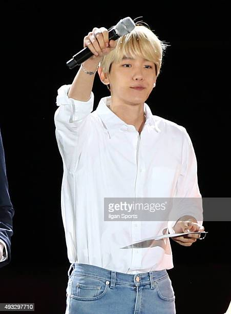 Baekhyun of Exo attends the One K concert at Seoul World Cup Stadium on October 9 2015 in Seoul South Korea