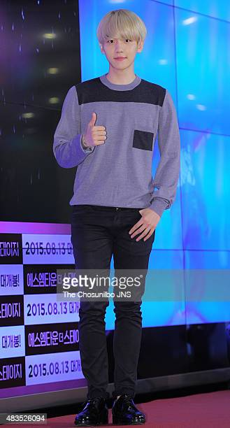 BaekHyun of EXO poses for photographs during the 2015 SM Town Screen Show in Seoul at COEX on August 4 2015 in Seoul South Korea