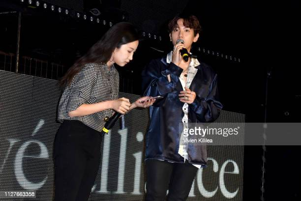 Baekhyun speaks onstage at the Privé Alliance LA's Fashion Presentation with KPop Star Baekhyu at Academy LA on February 26 2019 in Los Angeles...