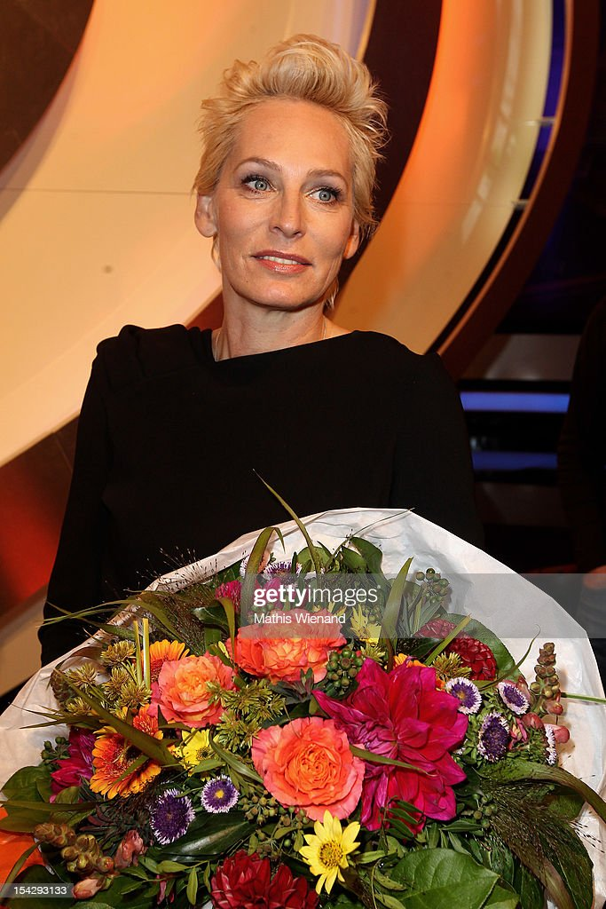 Baerbel Schaefer attends 'Die Quizshow' with Joerg Pilawa on October 17, 2012 in Cologne, Germany. The money goes to the 'Welthungerhilfe'!