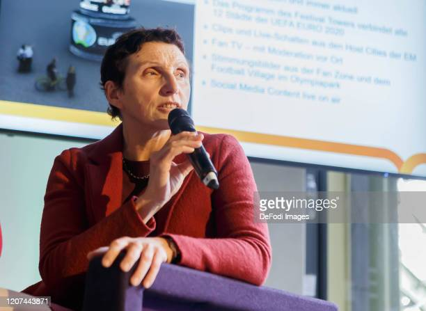 Baetrix Zurek looks on during the press conference UEFA EURO 2020 100 days to go at Olympiahalle on March 3 2020 in Munich Germany