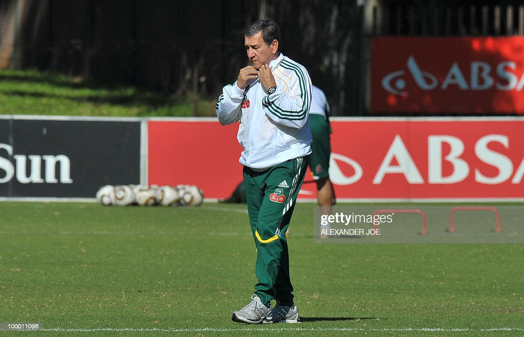Bafana Bafana (The Boys, nickname of the South African national football team) coach Carlos Alberto Parreira from Brazil is pictured during a training session in Johannesburg on May 20, 2010. South Africa occupy Group A with former winners France as well as Uruguay and Mexico, all top-20 national teams in the latest rankings from world rulers FIFA.