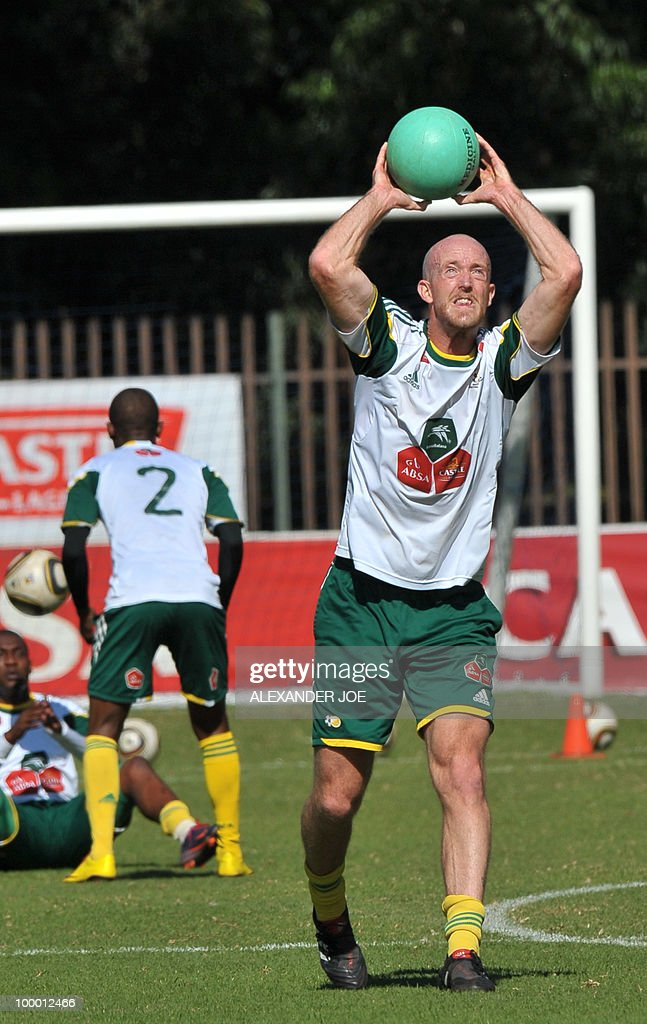 Bafana Bafana (The Boys, nickname of the South African national football team) defender Matthew Booth catches a ball during a training session in Johannesburg on May 20, 2010. South Africa occupy Group A with former winners France as well as Uruguay and Mexico, all top-20 national teams in the latest rankings from world rulers FIFA.