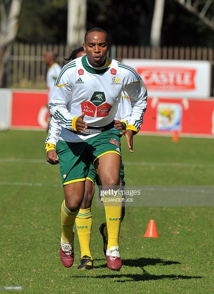 Bafana Bafana (The Boys, nickname of the South African national football team) player Benedict McCarthy exercises during a training session in Johannesburg on May 20, 2010. South Africa occupy Group A with former winners France as well as Uruguay and Mexico, all top-20 national teams in the latest rankings from world rulers FIFA.