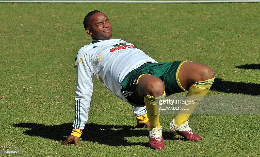 Bafana Bafana (The Boys, nickname of the South African national football team) player Benedict McCarthy stretches during a training session in Johannesburg on May 20, 2010. South Africa occupy Group A with former winners France as well as Uruguay and Mexico, all top-20 national teams in the latest rankings from world rulers FIFA.
