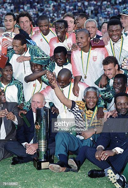 Bafana Bafana the national team celebrates their victory in the Africa's Cup of nations on February 3 1996 in Johannesburg South Africa South Africa...