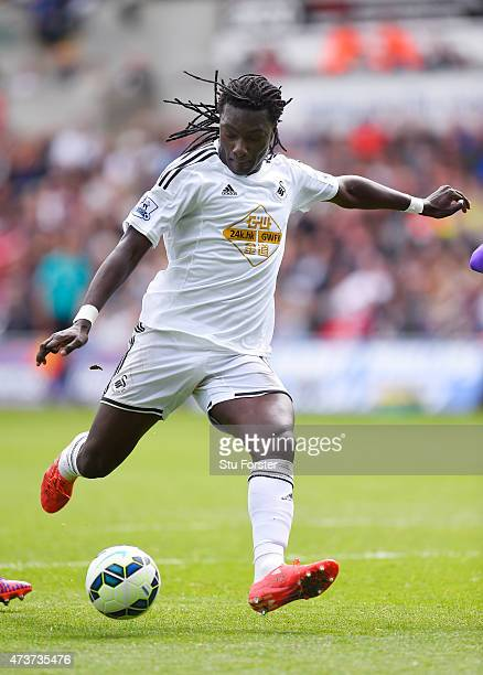Bafetibis Gomis of Swansea City scores his team's second goal to level the scores at 2-2 during the Barclays Premier League match between Swansea and...
