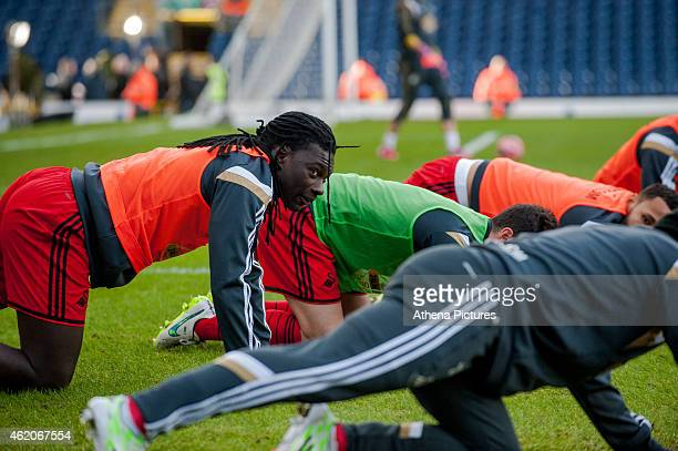 Bafetibis Gomis of Swansea City warms up during the FA Cup Fourth Round match between Blackburn Rovers and Swansea City at Ewood park on January 24...