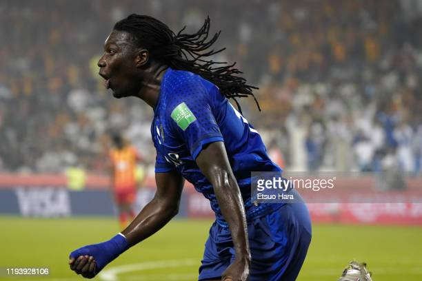 Bafetimbi Gomis of Al Hilal celebrates scoring his side's first goal during the FIFA Club World Cup 2nd round match between Al Hilal and Esperance...