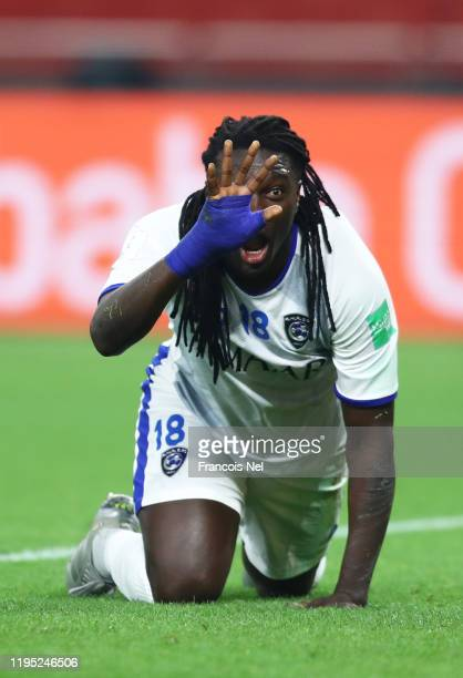 Bafetimbi Gomis of Al Hilal FC celebrates after scoring his sides second goal during the FIFA Club World Cup Qatar 2019 3rd place match between...