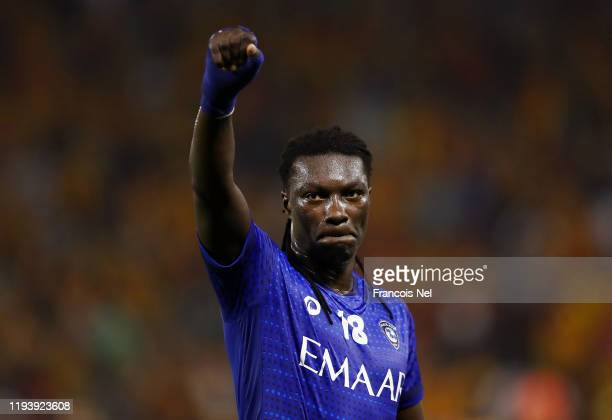 Bafetimbi Gomis of Al Hilal SFC celebrates after his sides victory during the FIFA Club World Cup 2nd round match between Al Hilal and Esperance...