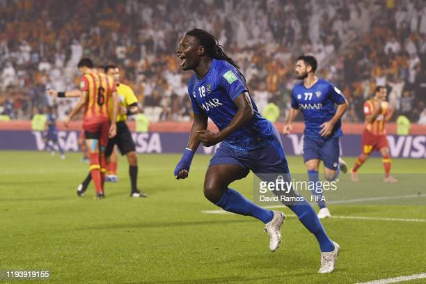 Bafetimbi Gomis of Al Hilal SFC celebrates after scoring his team's first goal during the FIFA Club World Cup 2nd round match between Al Hilal and...