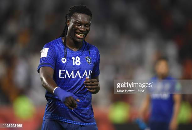 Bafetimbi Gomis of Al Hilal SFC celebrates following his sides victory in the FIFA Club World Cup 2nd round match between Al Hilal and Esperance...
