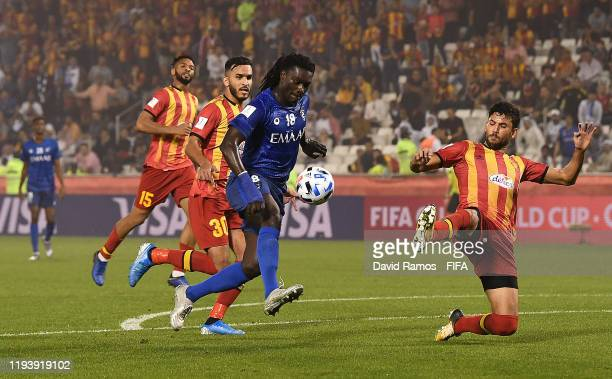 Bafetimbi Gomis of Al Hilal SFC scores his team's first goal during the FIFA Club World Cup 2nd round match between Al Hilal and Esperance Sportive...
