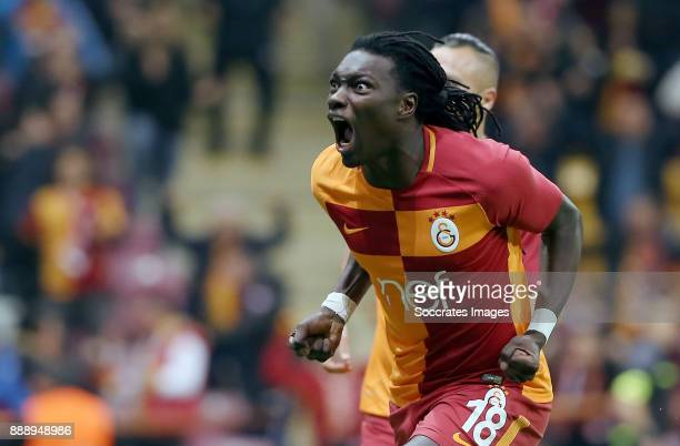 Bafetimbi Gomis of Galatasaray celebrates 22 during the Turkish Super lig match between Galatasaray v Akhisar Belediyespor at the Turk Telecom Stadum...
