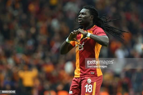 Bafetimbi Gomis of Galatasaray celebrates 22 during the Turkish Super lig match between Galatasaray v Akhisar Belediyespor at the Turk Telecom Stadum...