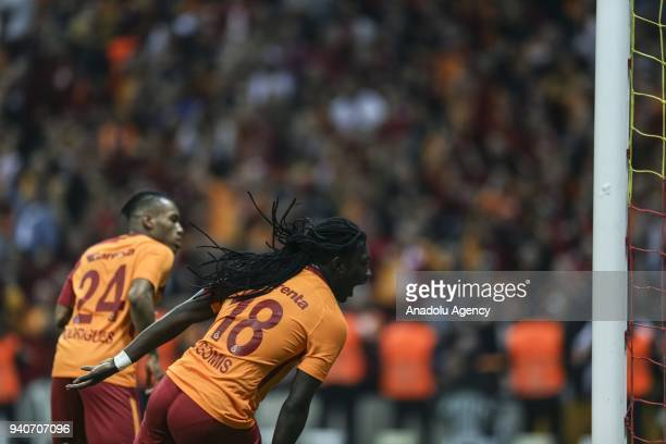 Bafetimbi Gomis of Galatasaray celebrates after scoring a goal during the Turkish Super Lig soccer match between Galatasaray and Trabzonspor at Turk...