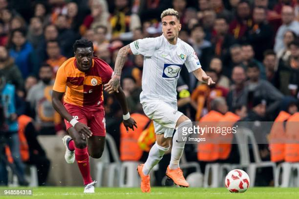 Bafetimbi Gomis of Galatasaray SK Hugo Miguel De Almeida Costa Lopes of Teleset Mobilya Akhisarspor during the Ziraat Turkish Cup match Fenerbahce AS...