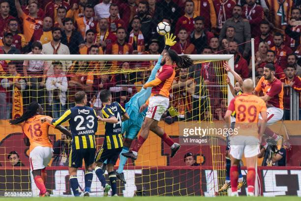 Bafetimbi Gomis of Galatasaray SK Vincent Janssen of Fenerbahce SK Luis Carlos Novo Neto of Fenerbahce SK goalkeeper Carlos Kameni of Fenerbahce SK...