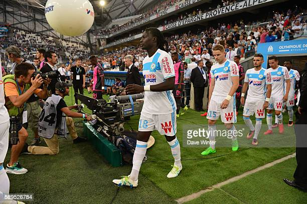 Bafetimbi Gomis of Marseille comes out for the football Ligue 1 match between Olympique de Marseille and Toulouse FC at Stade Velodrome on August 14...