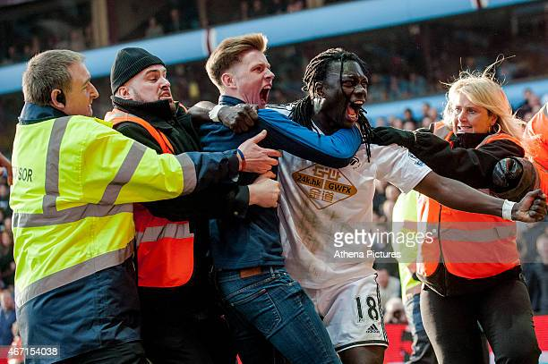Bafetimbi Gomis of Swansea City celebrates his goal during the Barclays Premier League match between Aston Villa and Swansea City at Villa Park on...