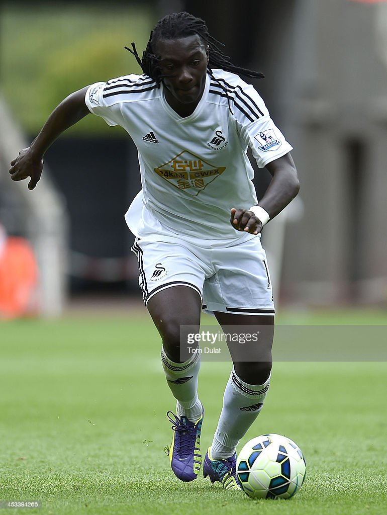 Bafetimbi Gomis of Swansea City in action during a pre season friendly match between Swansea City and Villarreal at Liberty Stadium on August 09, 2014 in Swansea, Wales.