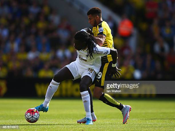 Bafetimbi Gomis of Swansea City is challenged by Etienne Capoue of Watford during the Barclays Premier League match between Watford and Swansea City...