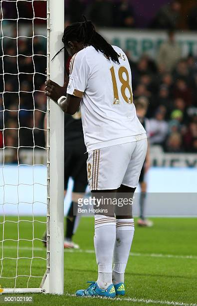 Bafetimbi Gomis of Swansea reacts during the Barclays Premier League match between Swansea City and Leicester City at Liberty Stadium on December 5...