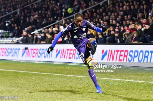 Bafode Diakite of Toulouse during the Ligue 1 match between Nimes and Toulouse at Stade des Costieres on January 19 2019 in Nimes France