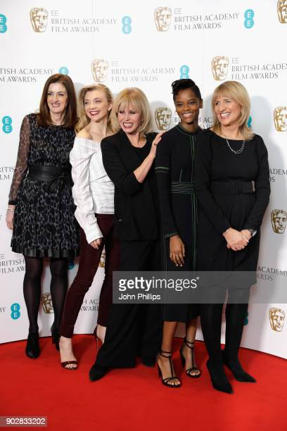 Bafta Chief Executive Amanda Berry actresses Natalie Dormer Joanna Lumley Letitia Wright and Bafta Chairman Jane Lush attend The EE British Academy...