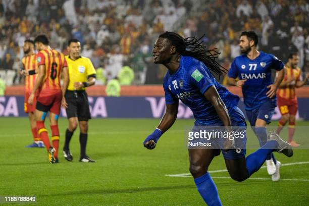 Bafétimbi Gomis celebrates after scoring in the FIFA Club World Club Cup Quarter final between Espérance de Tunis and Al Hilal at the Jassim bin...
