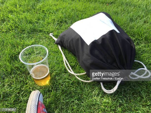 Bag And Drink On Grass