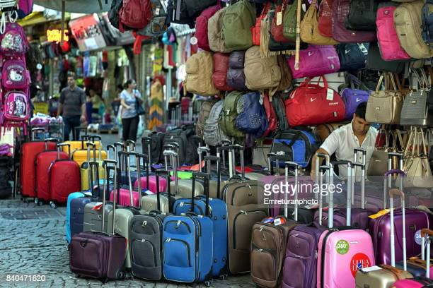 bag and suitcase store at kemeralti,ızmir. - emreturanphoto stock pictures, royalty-free photos & images