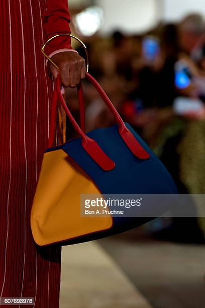 Bag detail as a model walks the runway at the Roksanda runway show during London Fashion Week Spring/Summer collections 2017 on September 19 2016 in...