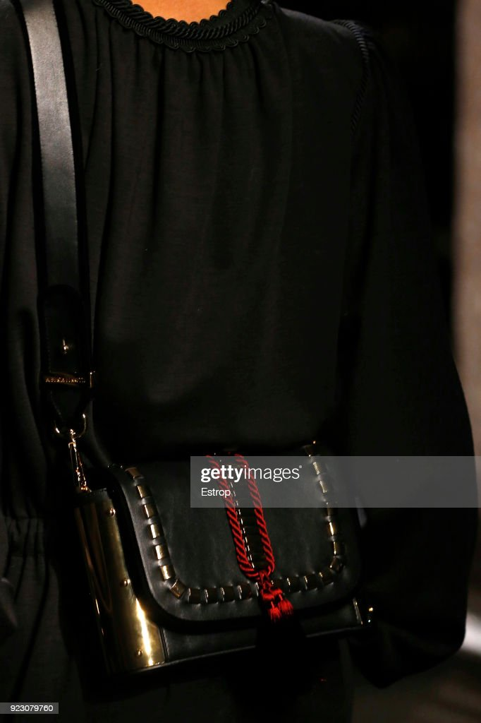 Bag detail at the Alberta Ferretti show during Milan Fashion Week Fall/Winter 2018/19 on February 21, 2018 in Milan, Italy.